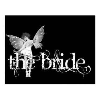White Dress Fairy B&W - The Bride Postcard