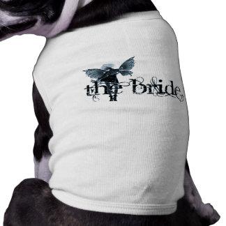 White Dress Fairy Blue Negative - The Bride Doggie Tshirt