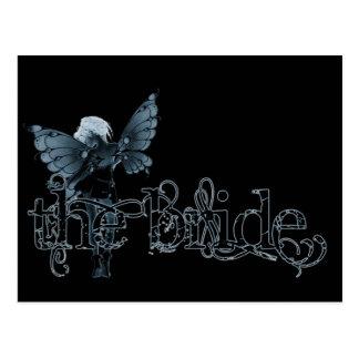 White Dress Fairy Blue Negative - The Bride Postcard