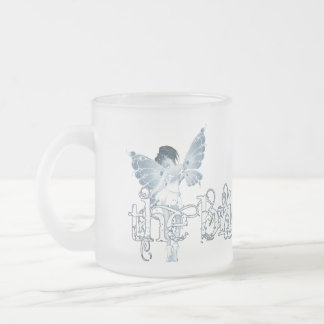 White Dress Fairy Blue - The Bride Frosted Glass Coffee Mug