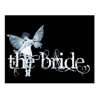 White Dress Fairy Blue - The Bride Postcard
