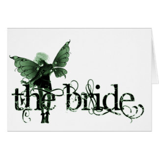 White Dress Fairy Green Negative - The Bride Cards