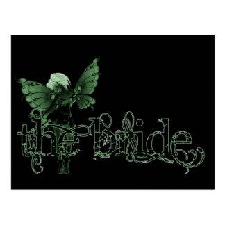 White Dress Fairy Green Negative - The Bride Postcard