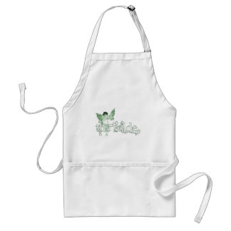 White Dress Fairy Green - The Bride Adult Apron