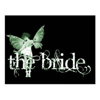 White Dress Fairy Green - The Bride Postcard