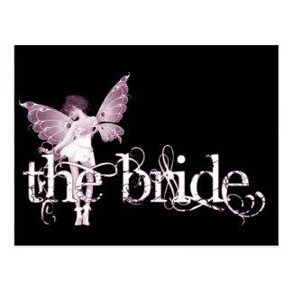 White Dress Fairy Pink - The Bride Postcard