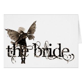 White Dress Fairy Sepia Negative - The Bride Greeting Card