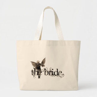White Dress Fairy Sepia Negative - The Bride Large Tote Bag