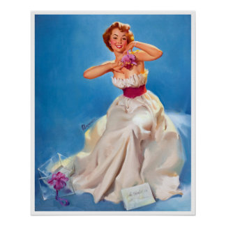 White Dress Pin Up Posters