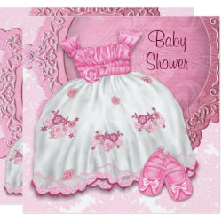 White Dress Pink Damask Baby Shower Invitation