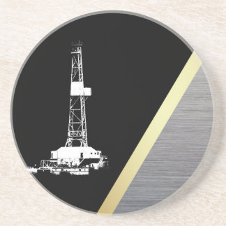 White Drilling Rig Silhouette Black and Metal Look Beverage Coaster