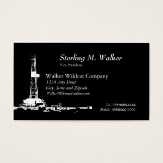 White Drilling Rig Silhouette Business Card