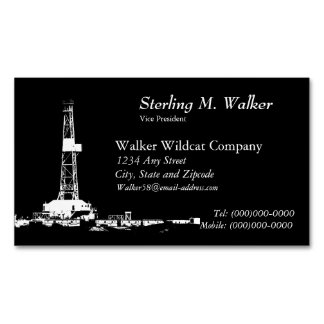 White Drilling Rig Silhouette Business Card Magnet