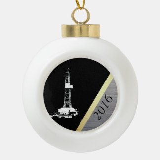 White Drilling Rig Silhouette Dated Ceramic Ball Christmas Ornament