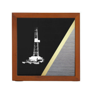 White Drilling Rig Silhouette on Black and Metal Desk Organizer