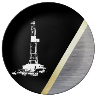 White Drilling Rig Silhouette on Black and Metal Dinner Plate