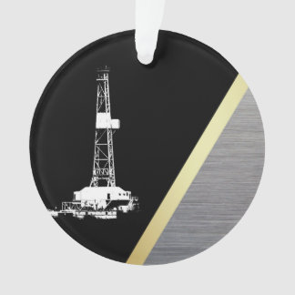 White Drilling Rig Silhouette on Black and Metal Ornament