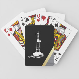 White Drilling Rig Silhouette on Black and Metal Playing Cards