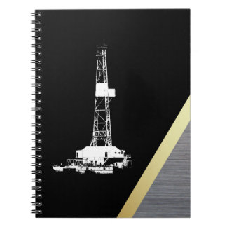 White Drilling Rig Silhouette on Black and Metal Spiral Notebook