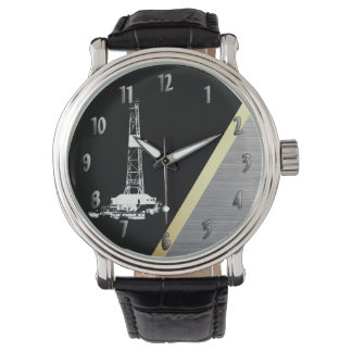 White Drilling Rig Silhouette on Black and Metal Wristwatch