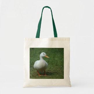 White Duck on White/Green Bag