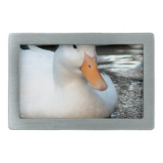 White Duck swimming in a creek Rectangular Belt Buckle