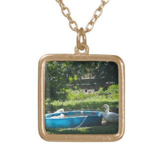 White Ducks and a Pool Gold Plated Necklace