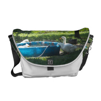 White Ducks and a Pool Messenger Bag