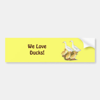White Ducks and Ducklings Car Bumper Sticker