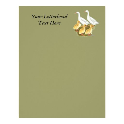 White Ducks and Ducklings Personalized Letterhead