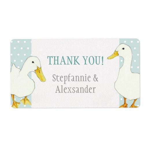 White Ducks dots Wedding Thank You Sticker Shipping Label