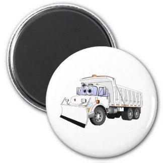 White Dump Truck Plow Cartoon Magnet