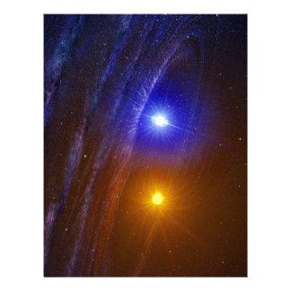 White dwarf and nova star letterhead template