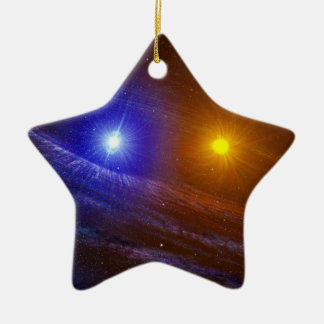 White dwarf and nova star christmas ornaments
