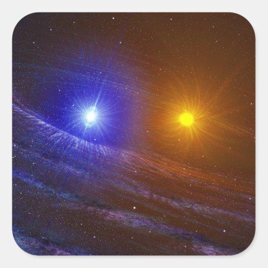 White dwarf and nova star square sticker