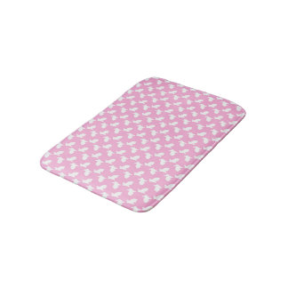 White Easter Bunnies on Pink Bath Mat