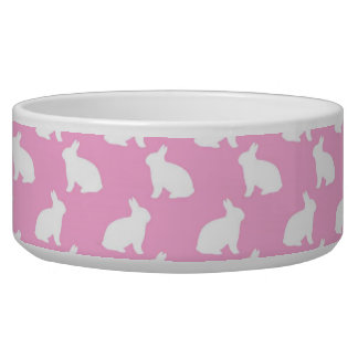 White Easter Bunnies on Pink Bowl