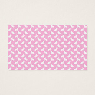 White Easter Bunnies on Pink Business Card