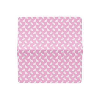 White Easter Bunnies on Pink Checkbook Cover