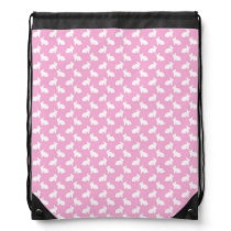 White Easter Bunnies on Pink Drawstring Backpack