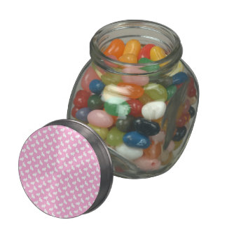 White Easter Bunnies on Pink Glass Candy Jars