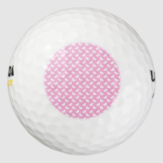 White Easter Bunnies on Pink Golf Balls