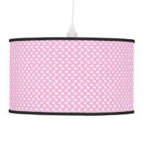 White Easter Bunnies on Pink Pendant Lamp