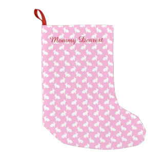 White Easter Bunnies on Pink Small Christmas Stocking
