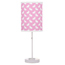 White Easter Bunnies on Pink Table Lamp