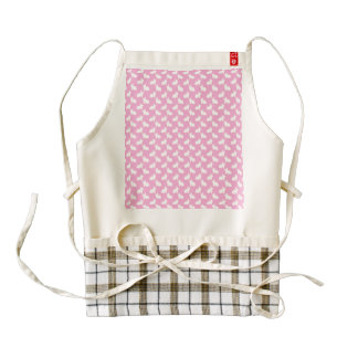 White Easter Bunnies on Pink Zazzle HEART Apron