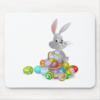 White Easter bunny and chocolate eggs Mouse Pads
