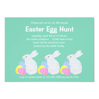 White Easter Bunny Easter Egg Hunt Party Invite