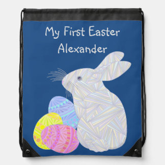 White Easter Bunny Easter Eggs Colorful Rabbit Fun Drawstring Backpack