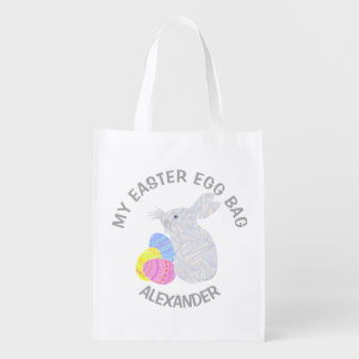 White Easter Bunny Easter Eggs Colorful Rabbit Fun Reusable Grocery Bags